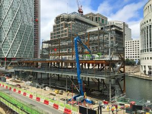 GOING UP: The futuristic, aluminium-clad, five-storey private members club on a floating pontoon in the Heron Quays financial district
