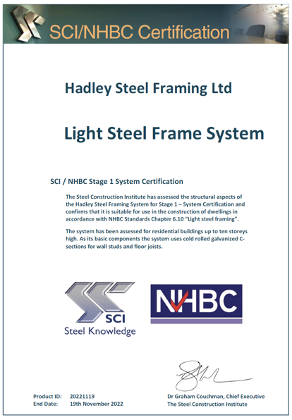NHBC Stage 1 Certification for Hadley Steel Framing