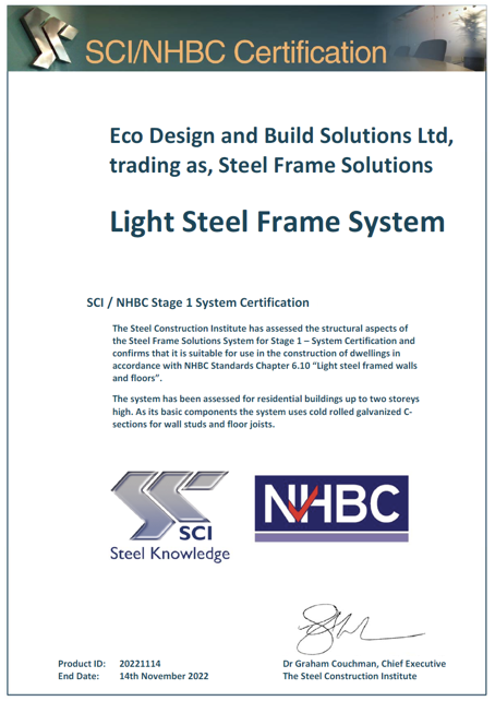 NHBC Stage 1 Certification for Steel Frame Solutions