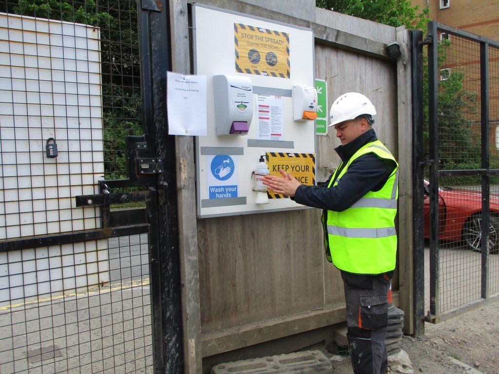 Fusion team hand sanitises on Jehu site