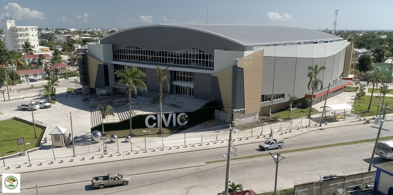 Aerial shot of new Belize Civic Centre. Dorset-based REIDsteel has been a key player in the construction of the complex in Belize City. (Picture from Government of Belize)